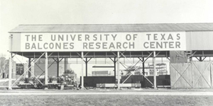 black and white photo of Balcones Research Center when it was first built