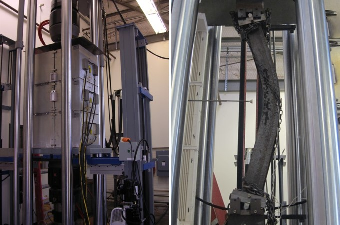 two photos of machine with column, right shows column buckling