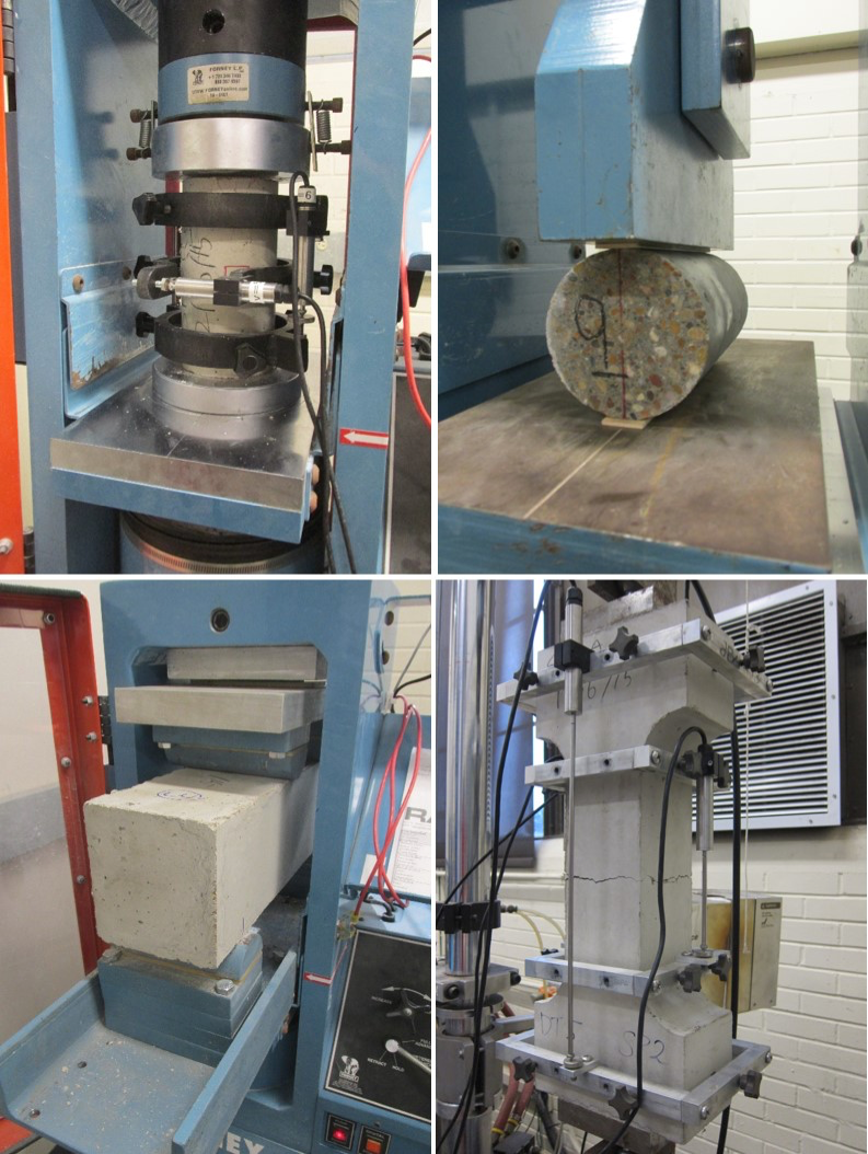 4 views of a machine compressing concrete