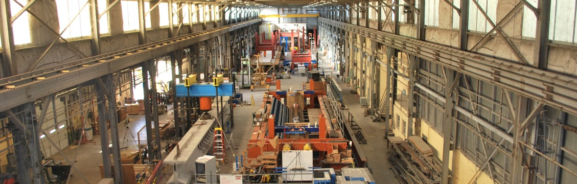 inside of warehouse with steel bridge girders